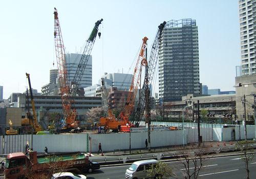勝どき駅前再開発工事現場の写真